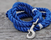 Long Royal Blue Hand-Spliced Rope Leash