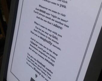 Granny / Nanny A4 Framed Poem