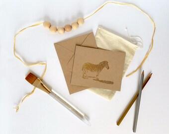Set of 6 Zebra Embossed Blank Greeting Card