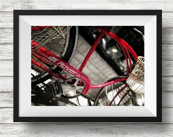 Red Vintage Bicycle Image, printable wall art, fine art photography, rustic industrial, man cave, Instant Download, Digital Download
