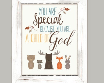 Nursery Wall Art, Woodland child of God