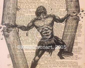 Samson- Bible Page Print - 8x10 - Vintage Art Print