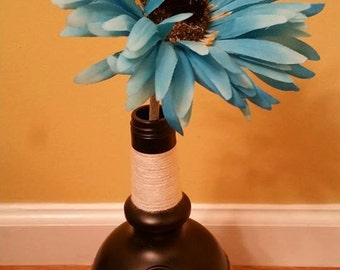 Blue Daisy Decorative Wine Bottle