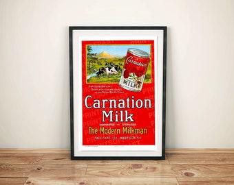 Carnation Evaporated Milk Vintage Retro Beverage Art Poster
