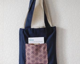 Reversible cotton bag and old kimono fabrics