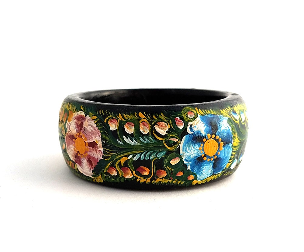 Vintage Hand Painted Wood Russian Bangle