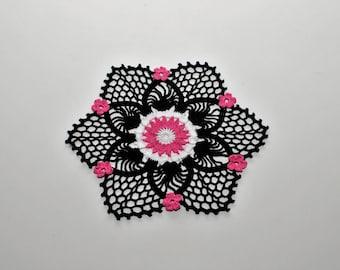 Black flower doily