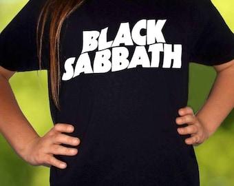 black sabbath logo BLACK t-shirt black sabbath shirt children toddler kid tee for gilrs and boys size:3-11 years