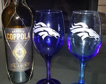Denver Broncos Wine Glass