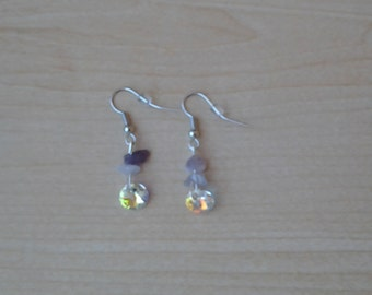 Amethyst chip & Swarovski crystal earrings