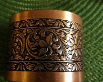 Vintage massive copper engraved cuff