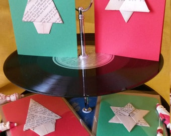 Recycled book origami Christmas Cards (4 pack). Red or green