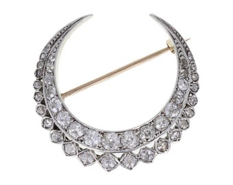 Edwardian Old-cut Diamond Crescent Brooch