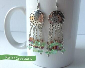Earrings, Chandelier Style Earrings, Green and Brown Bead Earrings, Dangle Earrings