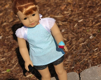 Blue & Brown Polka Dot 18 Inch Doll Apron