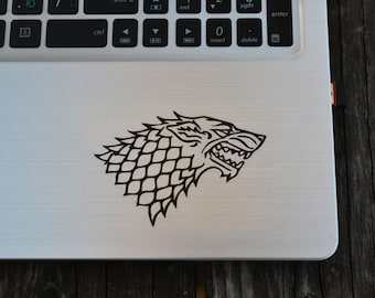 Game of Thrones inspired Direwolf House Stark decal,  laptop decal, vinyl decals, macbook decal, wall decal, car decal