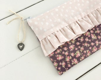 Zipper ruffle pouch - Pencil case - makeup pouch dots flowers