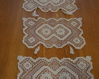 Vintage Hand-crocheted Lace Placemat Set