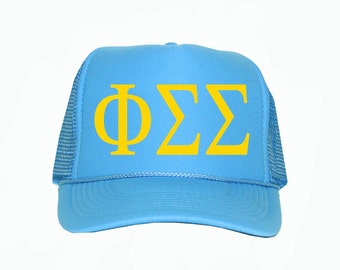 Phi Sigma Sigma Trucker Hat, Phi sigma sigma Sorority Trucker Hat, Greek Letter Glitter Trucker Hat, Greek Sorority hat, phisigmasigma