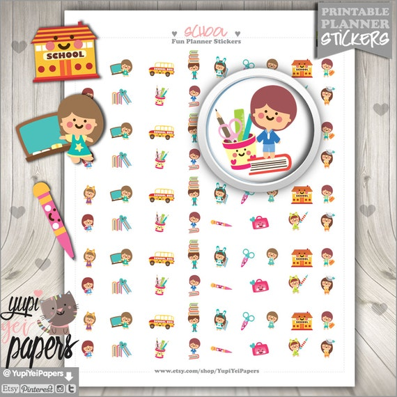 School Stickers Printable Planner Stickers College Stickers