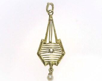 Antique 14k Gold Diamond & Pearl Lavalier Pendant