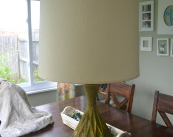 Mid Century Modern Ceramic or Pottery Green Orange Lava Glaze Table Lamp