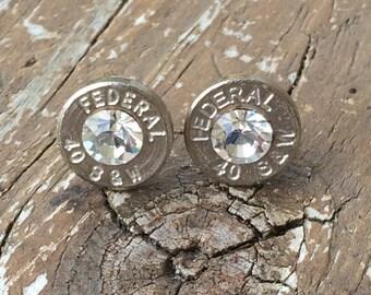 40 caliber nickel stud earrings