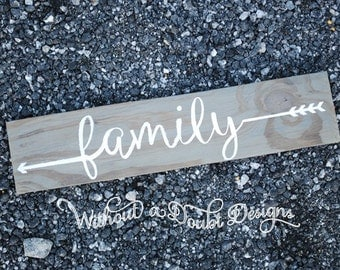 Rustic Family Sign Arrows Wall Decor Wall Hanging