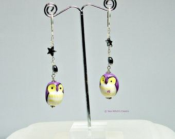 Owl Earrings   Dangly Earrings   Bird Earrings   Purple   Porcelain Earrings   Chain Drop Earrings   Owl Jewellery   Earrings for Mum  A0418