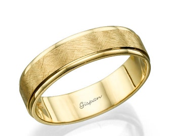 Wedding Band, Wedding Ring, Mens Wedding band, Yellow Gold ring, Scratch ring, Matte ring, 14k gold ring, Solid gold ring, Unique ring