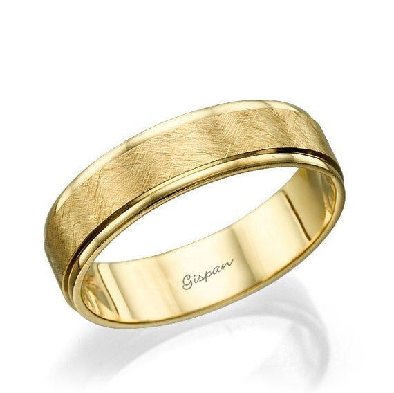 Mens Wedding Band Mens Wedding Ring 14k Yellow Gold Ring