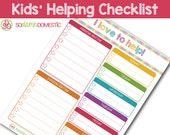 "Kids' ""I love to help!"" Chart - Editable / Fillable / Printable Checklist Planner"