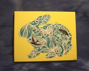 Yellow and Blue Flower Butterfly Lace Bunny Rabbit Silhouette Acrylic Painting with Metal Bird and Flower Accents