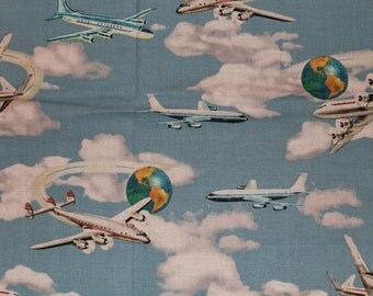 Planes Trains & Automobiles by Windham Fabrics Cotton Fabric  Remnant 12X22