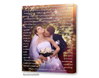 Custom Photo Canvas, Personalized Picture, Canvas Photo Decor Words, Vows, Lyrics, Gallery Wrapped Canvas, Unique Wall Decor, Christmas Gift