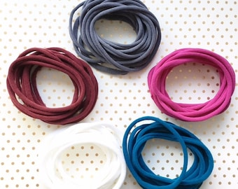 Ultra Stretchy Nylon Headband, Elastic 5 colors available, Mix color available, Grey, Red, Pink, Blue, White, Material made in Japan
