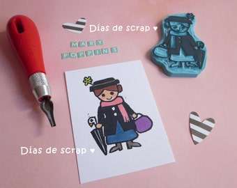Seal Mary Poppins. Handmade stamp. Seal of rubber. Custom seal. Stamps. Rubber stamp. Handmade carved stamps. Mary Poppins