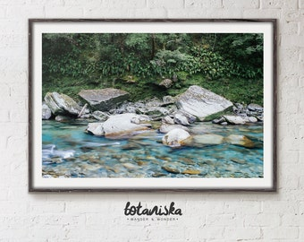 Nature Print, Forest Photo, Wall Art, Printable Art, Modern Print, Fine Art, Water, River, Ferns, Large Wall Photo, Earth, Green
