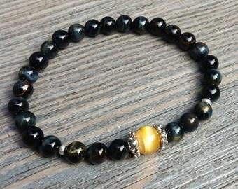 Bracelet unisex fait de pierres fines oeil de tigre bleu Grade A et oeil de  tigre