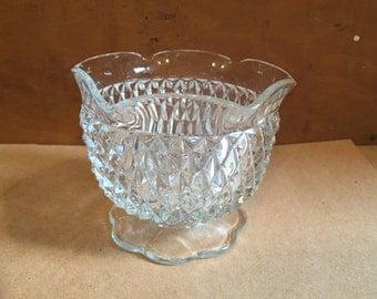 Vintage Glass Pedistal Serving Bowl