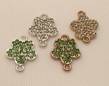 6 Pcs 18mmx13mm Rhinstone Daisy Flower Connector Charms, Pendant  Charms, Bracelet Charms,Metal Connector