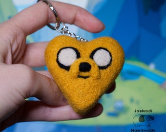 Valentines Adventure time keychain - Jake the dog keychain - felt keychain - heart keychain -adventure time gifts