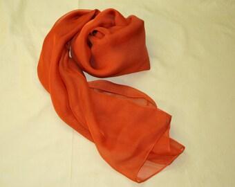 silk scarf iridescenting in orange / russet