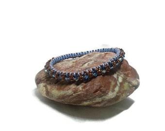 Swarovski Crystal Beaded Bangle, Stackable Layering Bracelet, Dainty Beaded Bangle