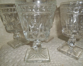 7 Park Lane Water Goblets / Wine Glass ~ Colony / Indiana Glass