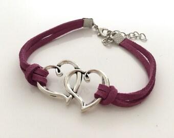 Love Bracelet/ Friendship Love Bracelet/Love Braided Leather Bracelet Purple