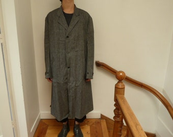 1930s workwear chambray architect's overcoat, french vintage deadstock Au Molinel, large