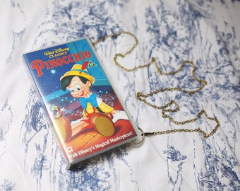 VHS video case handbag, Disney's Pinocchio shoulder bag, clutch, retro, up-cycled