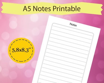 Notes Printable A5, A5 Planner Insert, Notes Planner Page, Filofax Notes Printable, Inserts a5, Printable Notes Page, Instant Download
