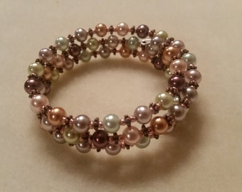 Multi-colored pearl beads with copper accents memory wire bracelet